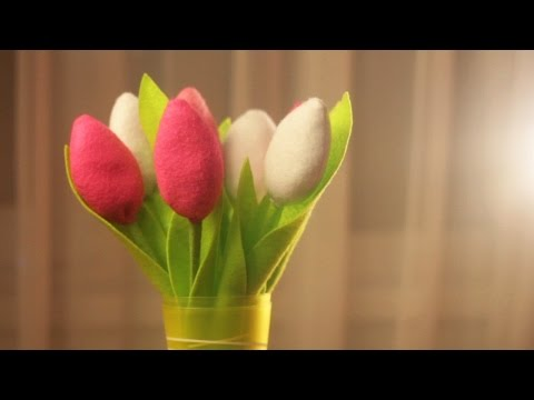 Тюльпаны из фетра. смотреть в хорошем качестве