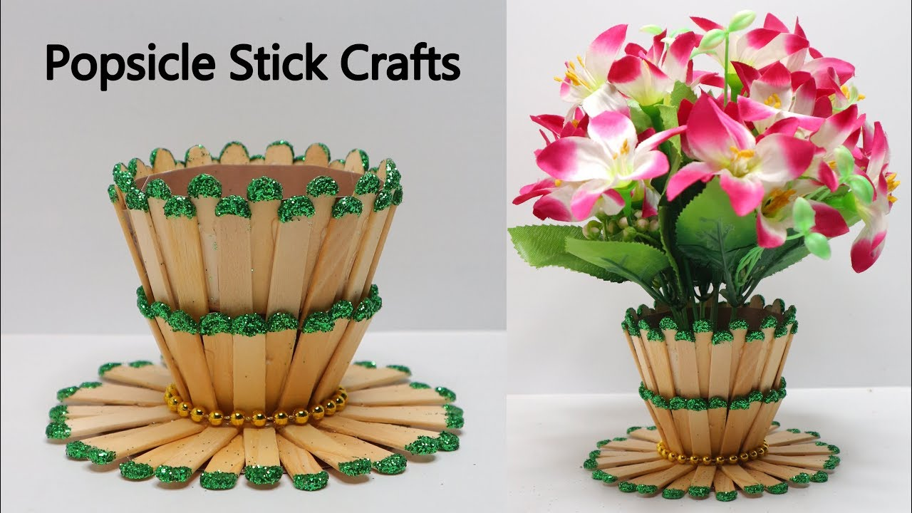 Ide Kreatif Vas Bunga Dari Stik Es Krim Popsicle Stick Craft Youtube