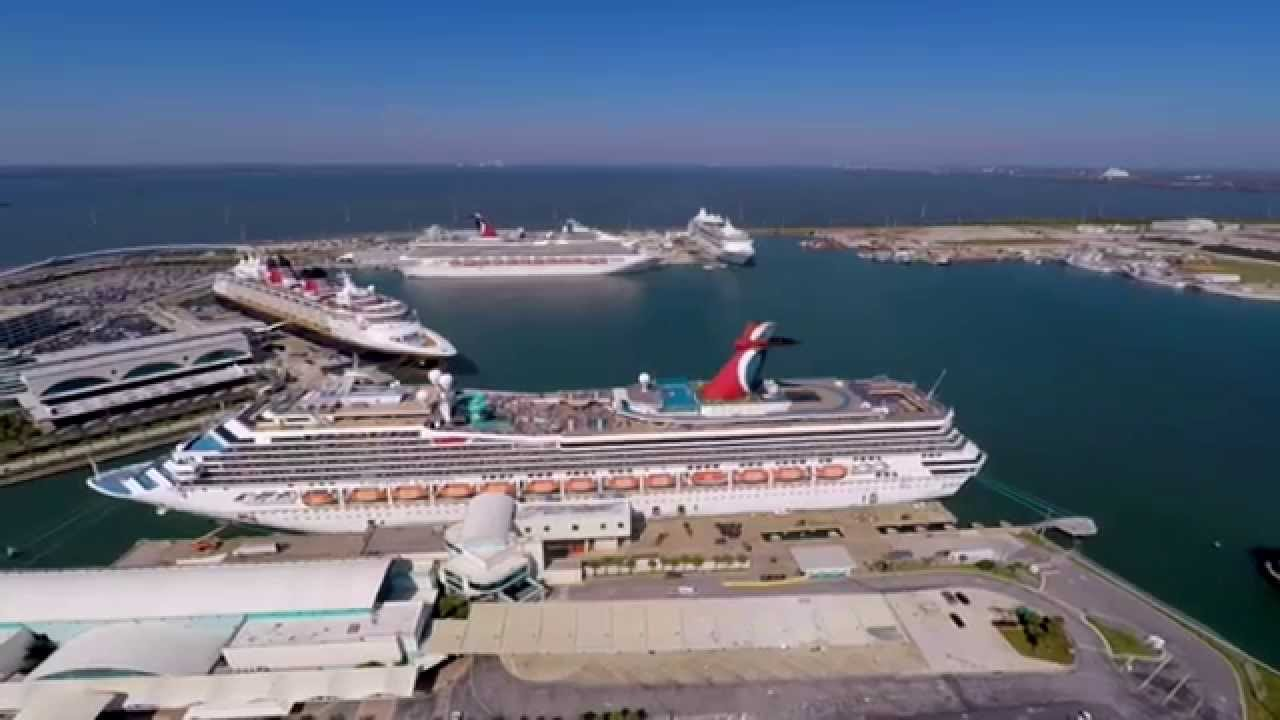 Port Canaveral Aerials Of Record Breaking Cruise Ships In Port - Cruise ships port canaveral