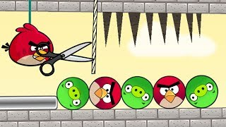 Angry Birds Piggies Out - RED BIRDS TRY TO CUT THE ROPE TO DROP SPIKES ON ROUND PIGGIES!