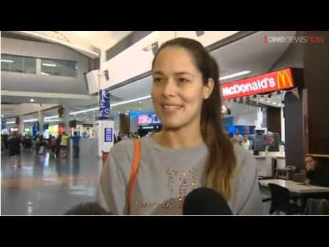 Ana Ivanovic talks to media at Auckland Airport, New Zealand