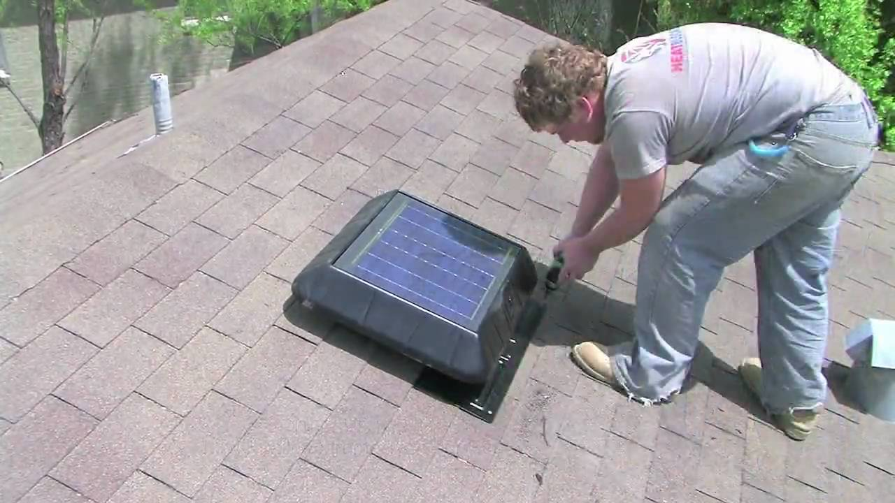 solar powered power attic roof fan vent install how to by heatblockers