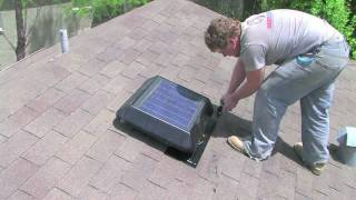 Solar powered power attic roof fan vent install how to by HeatBlockers Thumbnail