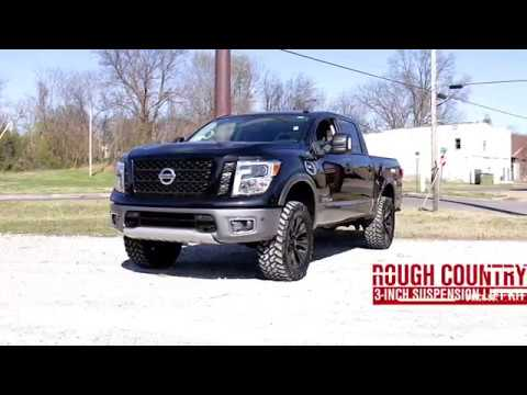 Nissan 5 0 Cummins >> 2017 Nissan Titan Non XD 3 inch Bolt In Suspension Lift Kit by Rough Country - YouTube