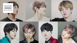 figcaption 방탄소년단 - 완전체 그림 그리기 (Speed Drawing BTS all member )[Drawing Hands]