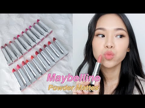 MAYBELLINE POWDER MATTES SWATCHES & REVIEW + 50 LAYERS OF LIPSTICK CHALLENGE!