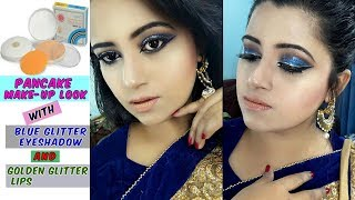 Pancake Foundation Makeup || Navy Blue Eyeshadow || Glittery eyes & Lips || sharmin Soma || 2017
