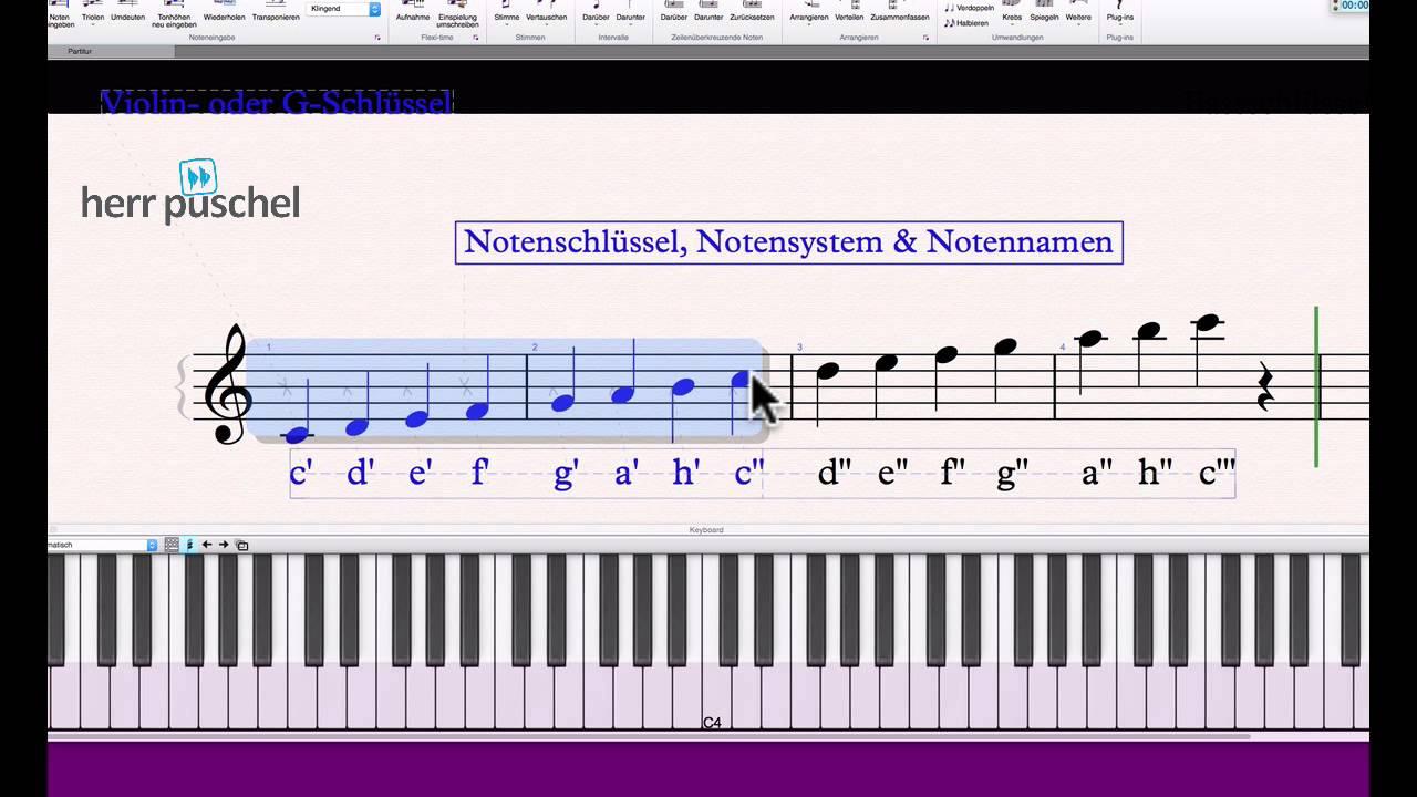 Musiktheorie 1: Notenschlüssel, Notensystem und Notennamen - YouTube