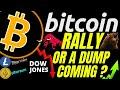 BITCOIN RALLY OR DUMP!!?? LITECOIN ETHEREUM DOW btc ltc price prediction, analysis, news, trading