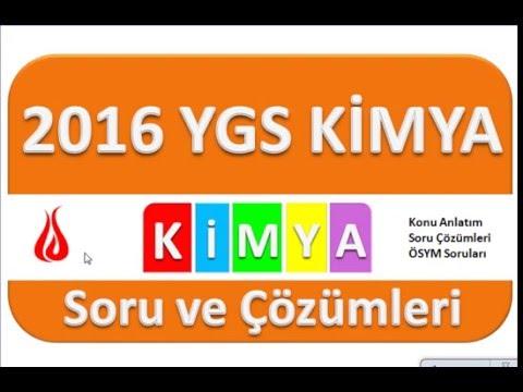 YGS 2016 Kimya Soru ve Çözümleri
