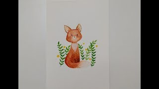 Baby Fox / Easy Watercolor illustration / For kids