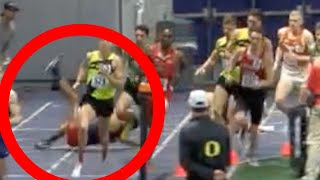 Runner Wipes Out & Goes FLYING During Mile Race