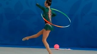 young girl athlete exercise with Hoop