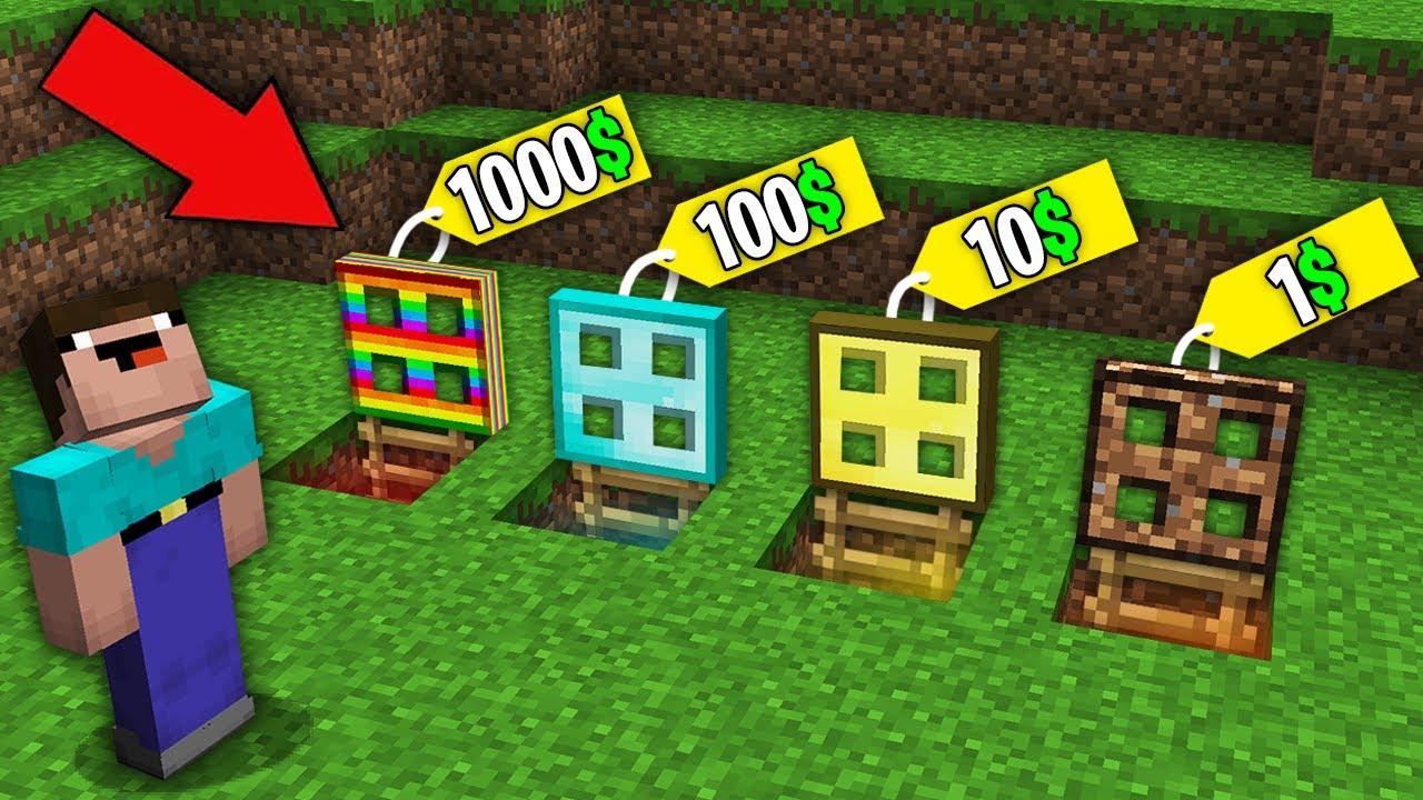 Minecraft NOOB vs PRO:WHICH RAREST TRAPDOOR WILL NOOB BOUGHT FOR 1000$ VS 100$ VS 10$ VS 1$?trolling