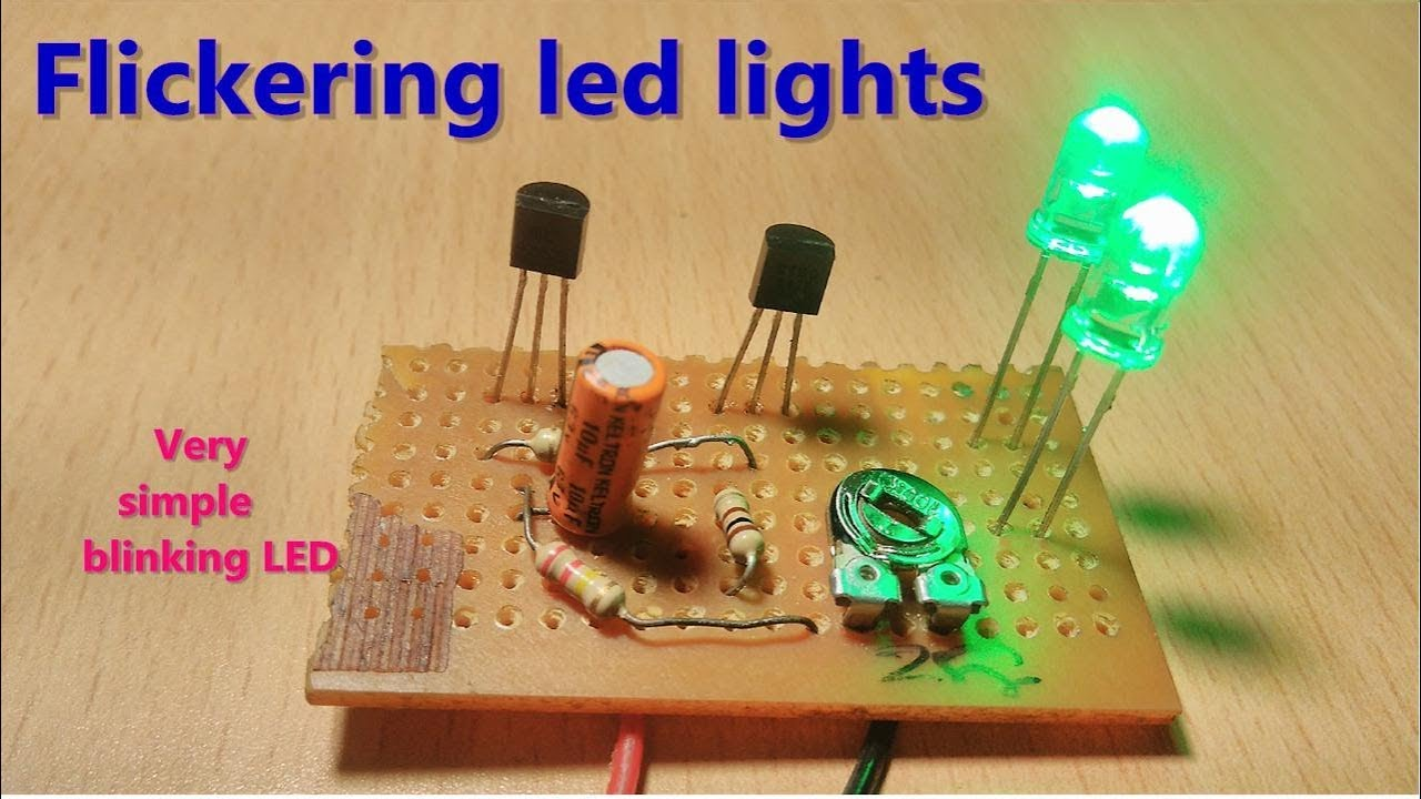 Flickering Blinking Led Light Using Two Transistors One Capacitor Circuit