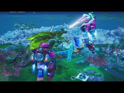 Fortnite Monster (GODZILLA) Vs MECHA Robot Battle!! FULL Film Scene & Buying/Unlocking 'COMBO' Tool