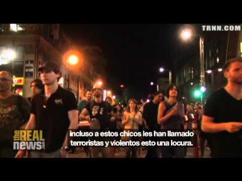 Protesta contra represión y leyes draconianas en Quebec