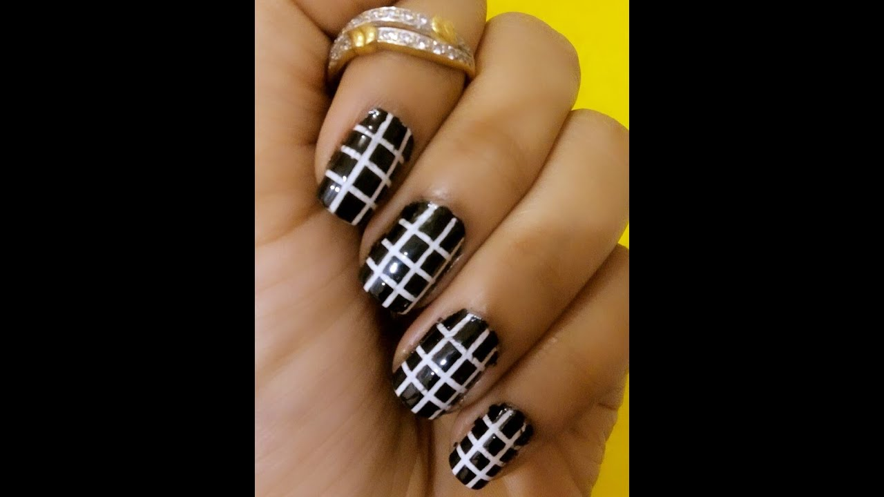 Simple Black and White Nail Art - YouTube