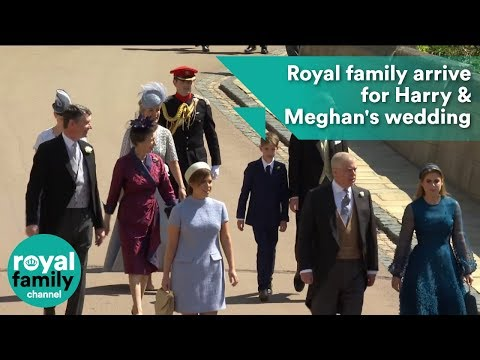 Princess Beatrice, Eugenie, Princess Anne, Prince Edward arrive at Royal Wedding