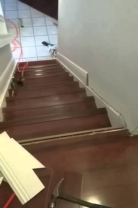 Brazilian Cherry 12.3mm Laminate Flooring Staircase Installation In Boca  Raton Florida