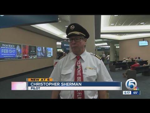 Airline pilot making his last flight