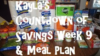 Kayla's Countdown Of Savings Week 9 & Meal Plan