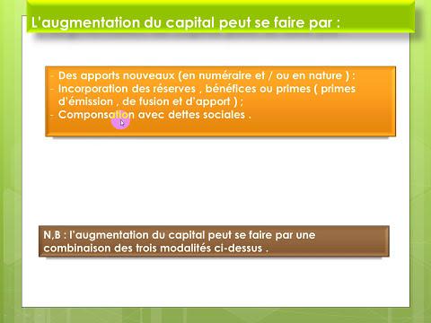 comptabilité de société chapitre4 : l'augmentation du capital ( darija)