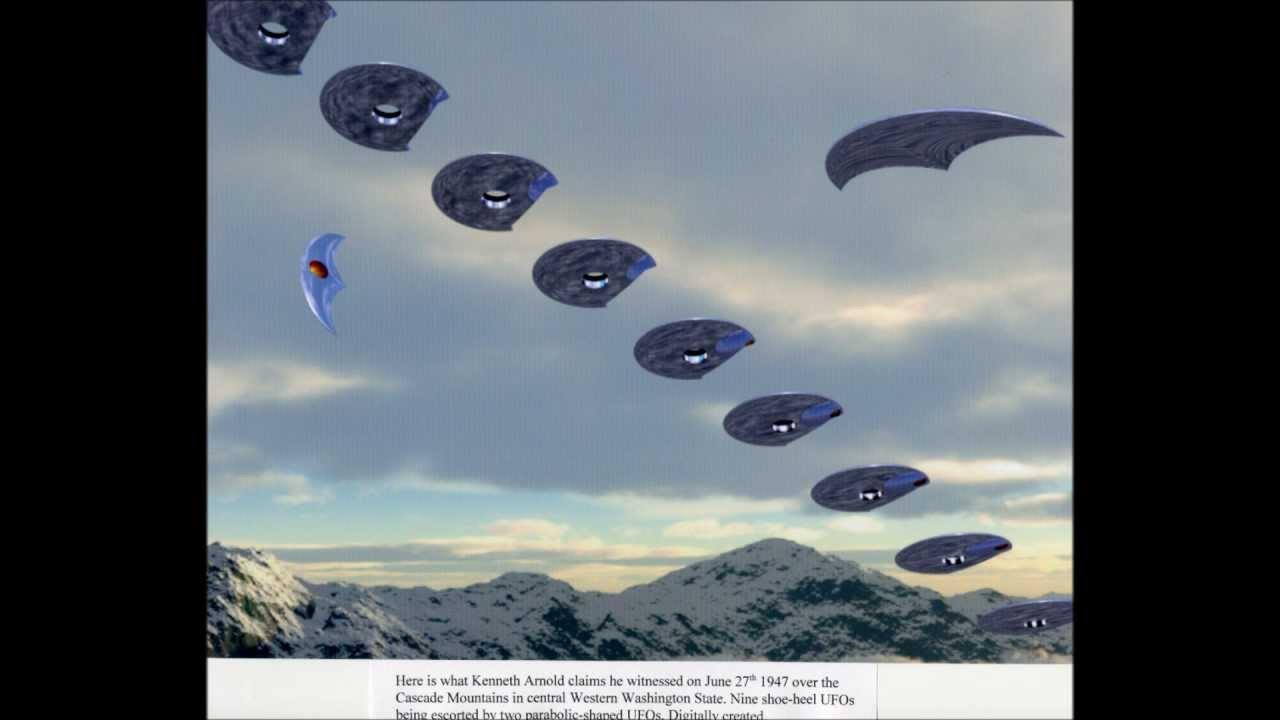 La ricostruzione dello stormo di UFO vista da Arnold
