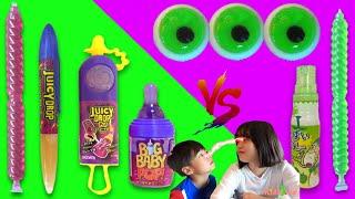 こうくんねみちゃん みどりVSむらさき Green Food VS Purple Food Mukbang