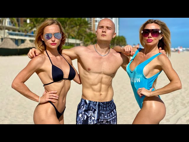 2 Hot Chicks Pick Up a Muscular Guy on Miami Beach