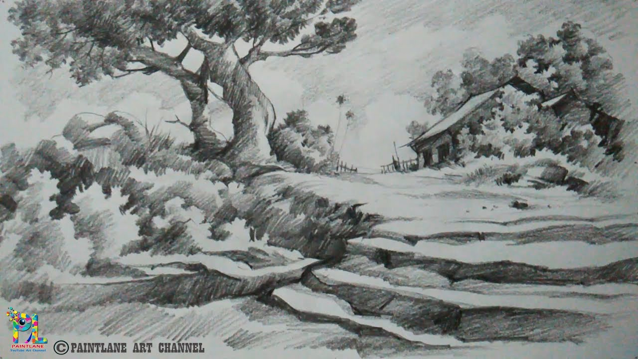 Japanese Garden Drawing Pencil