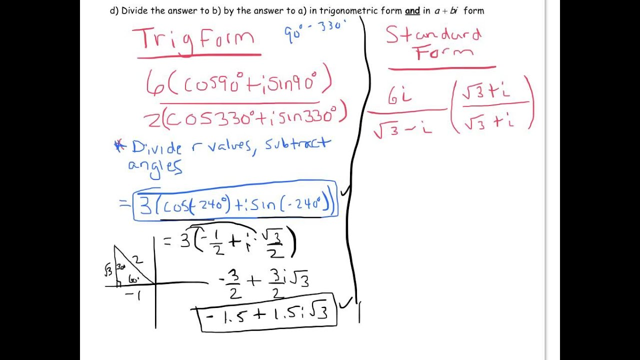 Multiplying and Dividing Complex Numbers in Trigonometric or Polar Intended For Multiplying Complex Numbers Worksheet