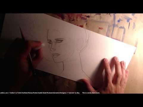 pencil drawing: a woman at a computer part deux! (A* 26:47)
