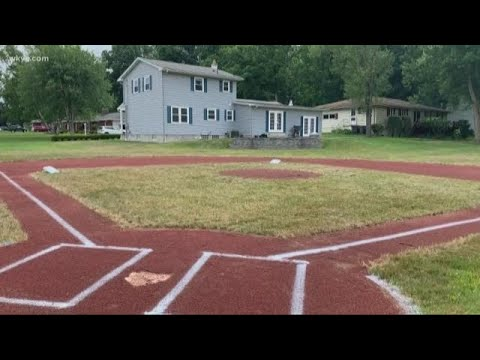 Andi and Kenny  - Dad Builds Baseball Field in Backyard for Five-Year-Old Son