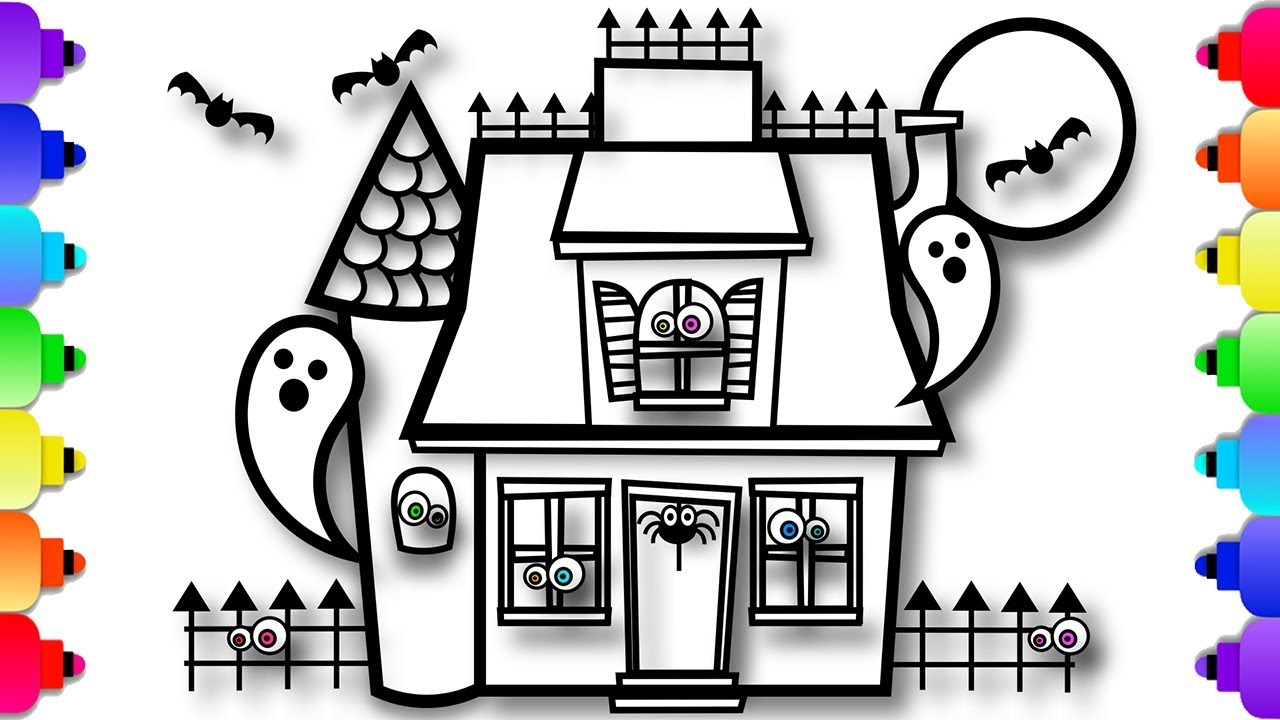 Halloween Spooky House Drawing.How To Draw Haunted House For Kids Halloween Videos For Kids Spooky Surprises