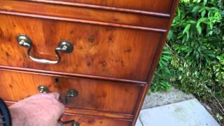 Large Brown Leather Top Yew Wood Filing Cabinet Three Drawer With Key
