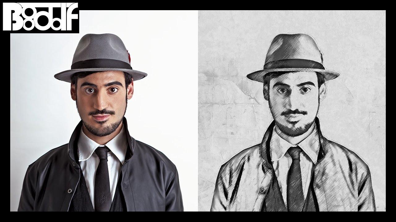 طريقة تحويل الصورة الى رسم بالرصاص بالفوتوشوب Photoshop Youtube