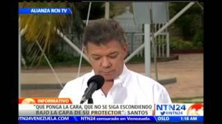 """Santos pide a Zuluaga """"poner la cara"""" y dejar de """"esconderse bajo la capa de su protector"""""""
