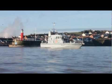 HMS Exploit leaving Watchet Harbour 26 Feb 2012