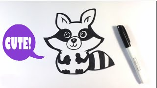 How to Draw a Raccoon - Cute Art - Easy Pictures to Draw