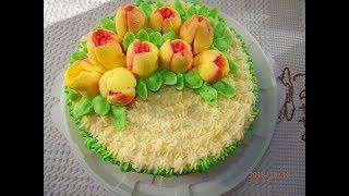 Украшение торта тюльпанами / Украсить торт за 20 минут!!! Легко и просто!!!