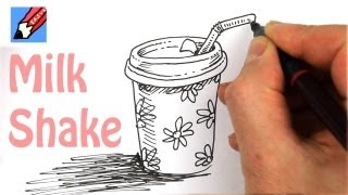 How to draw a Milk Shake Cup Real Easy