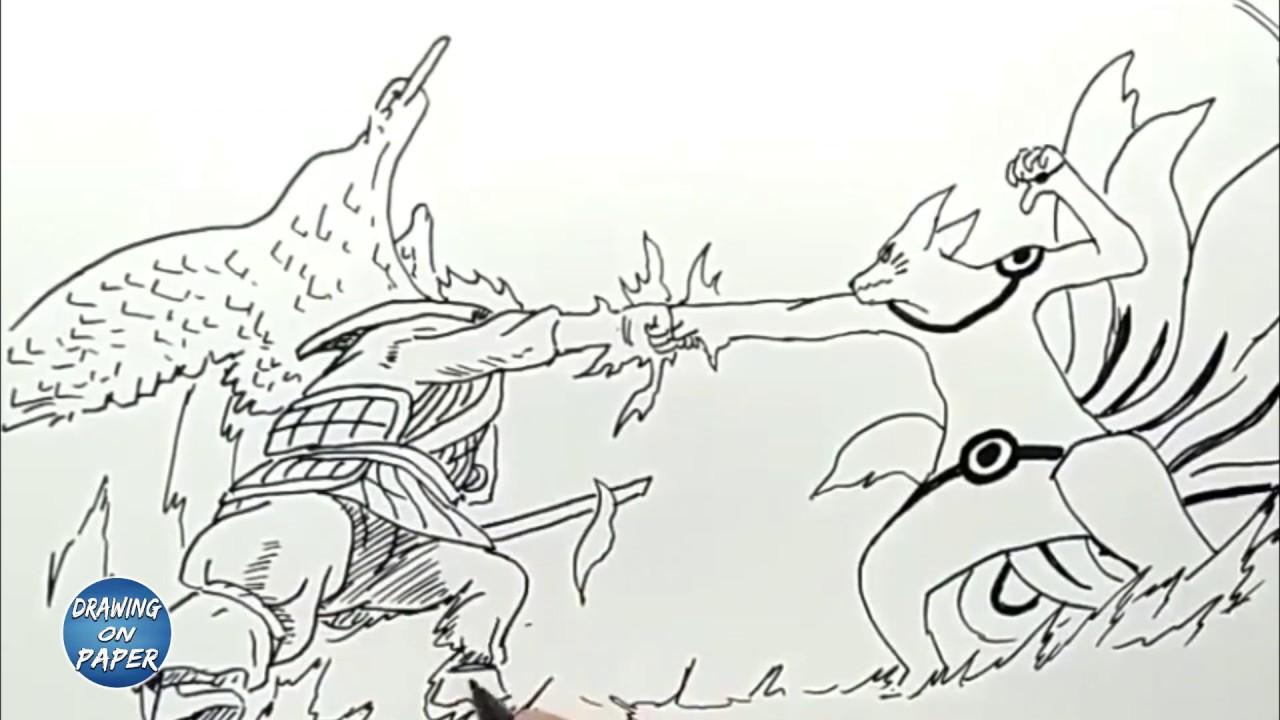 Very Easy!! How to Draw Susanoo vs Kurama (Kyubi) - Drawing doodle art for  kids