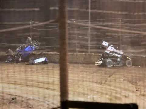 27th April 2019 - Moora Speedway Final Meeting - Limited Sprintcar Championship Series Damien Turney went upside down hard into the turn 2 fence, after ... - dirt track racing video image