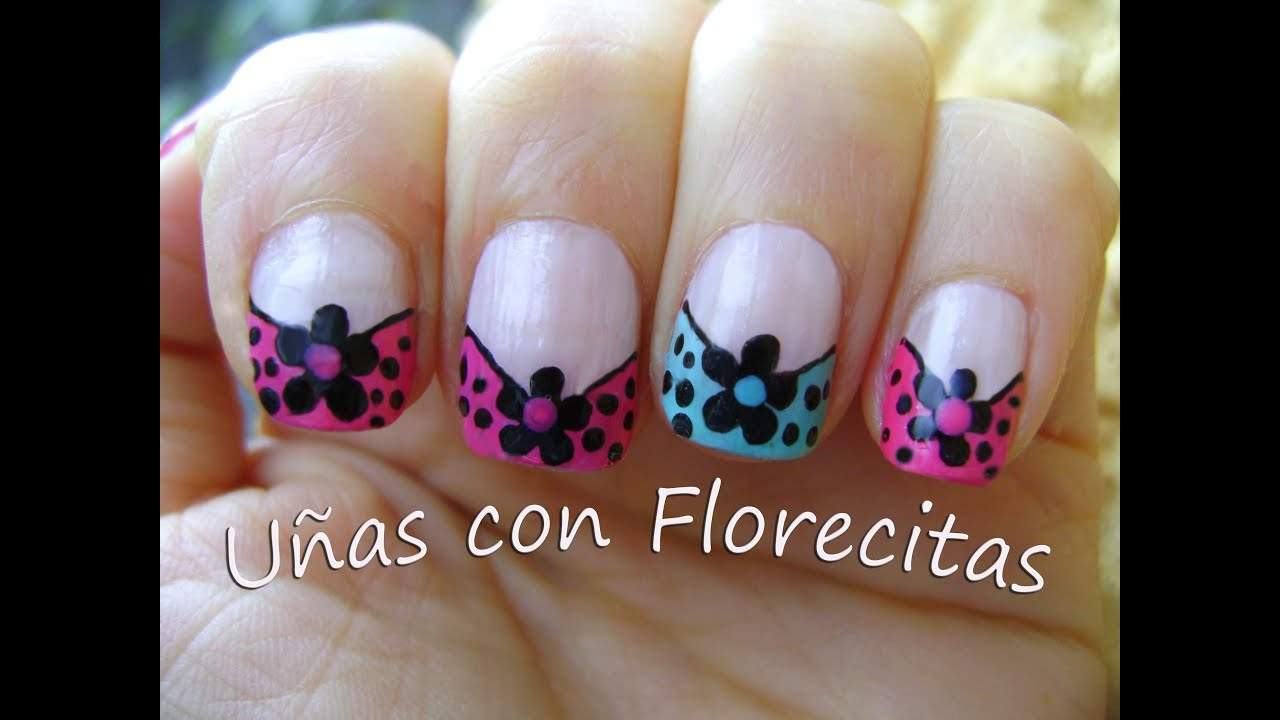 Uñas con Florecitas - Nails with flowers - YouTube