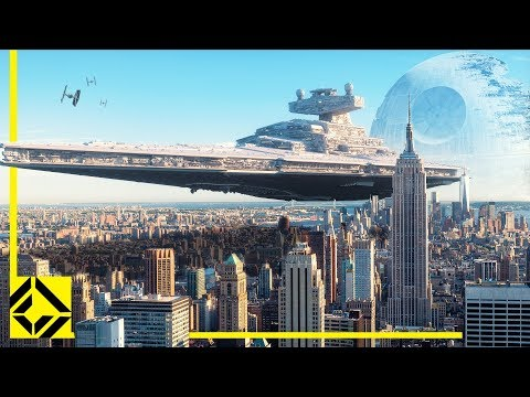 El tamaño de las naves de Star Wars superpuesto sobre imágenes del MundoReal™