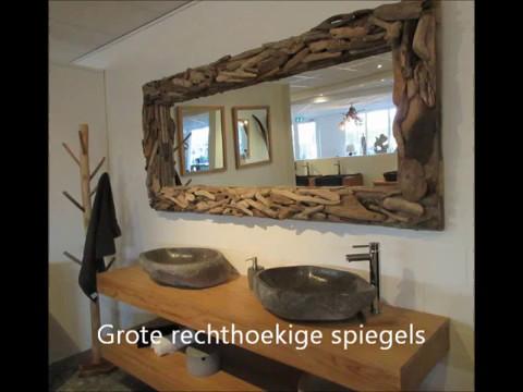 Drijfhouten spiegel, Sloophouten spiegel, Badkamerspiegel, Driftwood ...