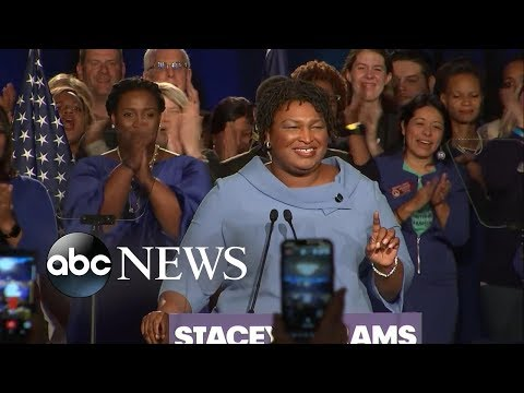 Stacey Abrams gives an enthusiastic speech, stays in the race