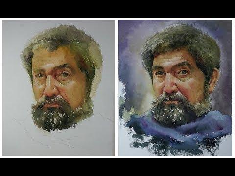 Watercolor Portrait painting :  Old man Portrait 02