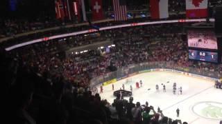 Хоккеисты сб  России покидают лёд перед исполнением канадского гимна